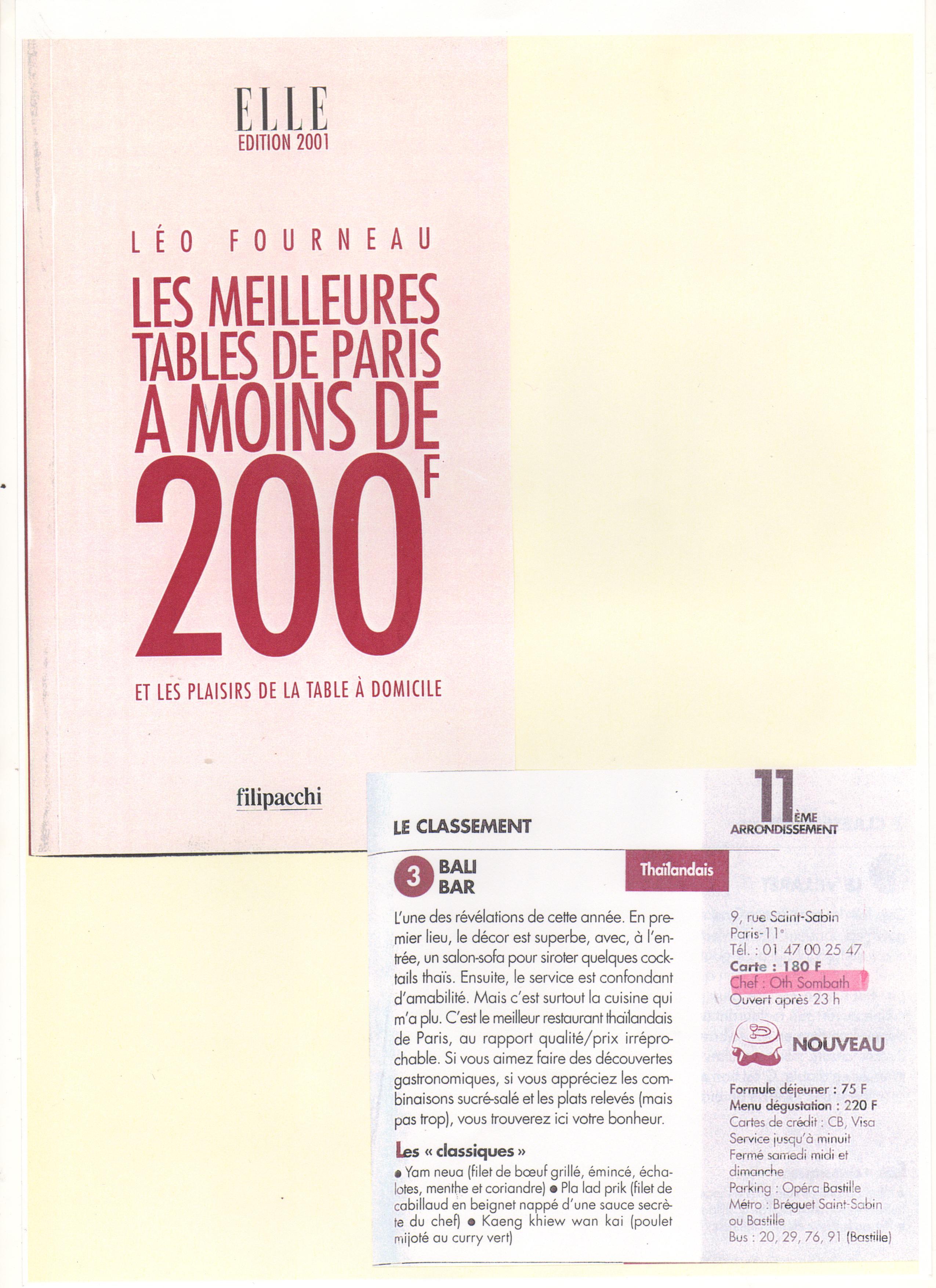 Les meilleurs des tables de Paris à moins de 200 Frs