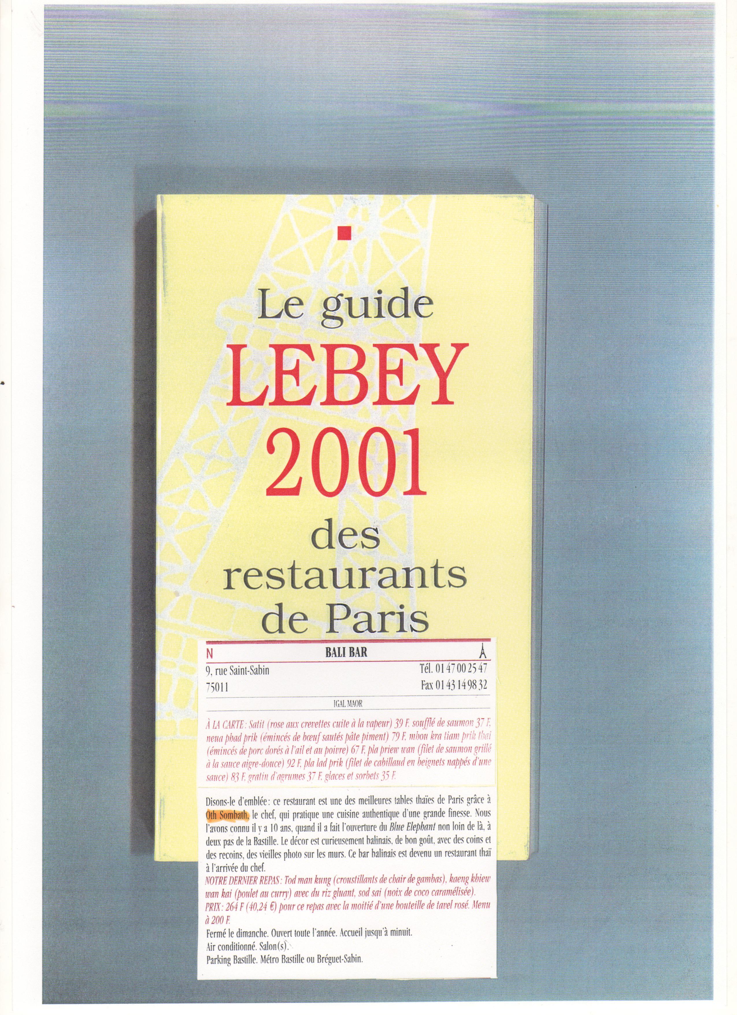 Le guide LEBEY 2001